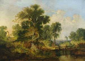 Samuel David Colkett - A River Landscape with Figures on a Bridge