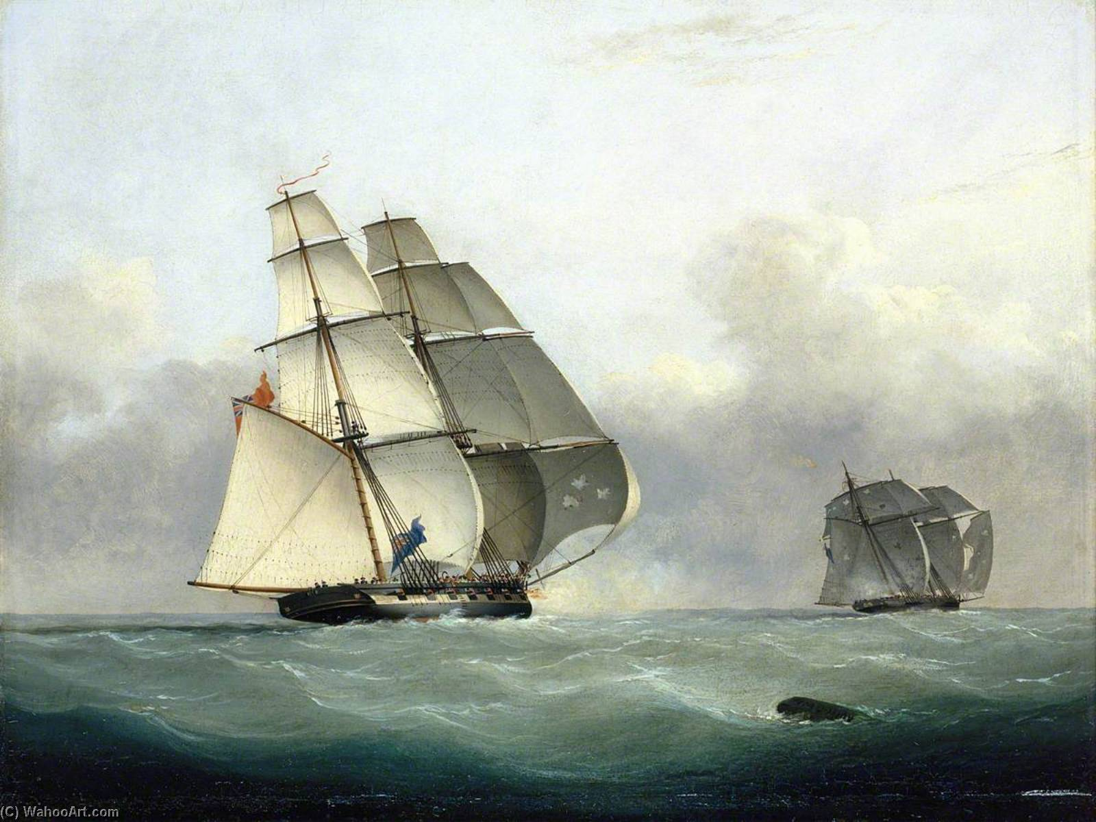 The Capture of the Slaver `Gabriel` by HMS `Acorn`, 6 July 1841, 1841 by Nicholas Matthew Condy (1816-1851) | Art Reproduction | WahooArt.com