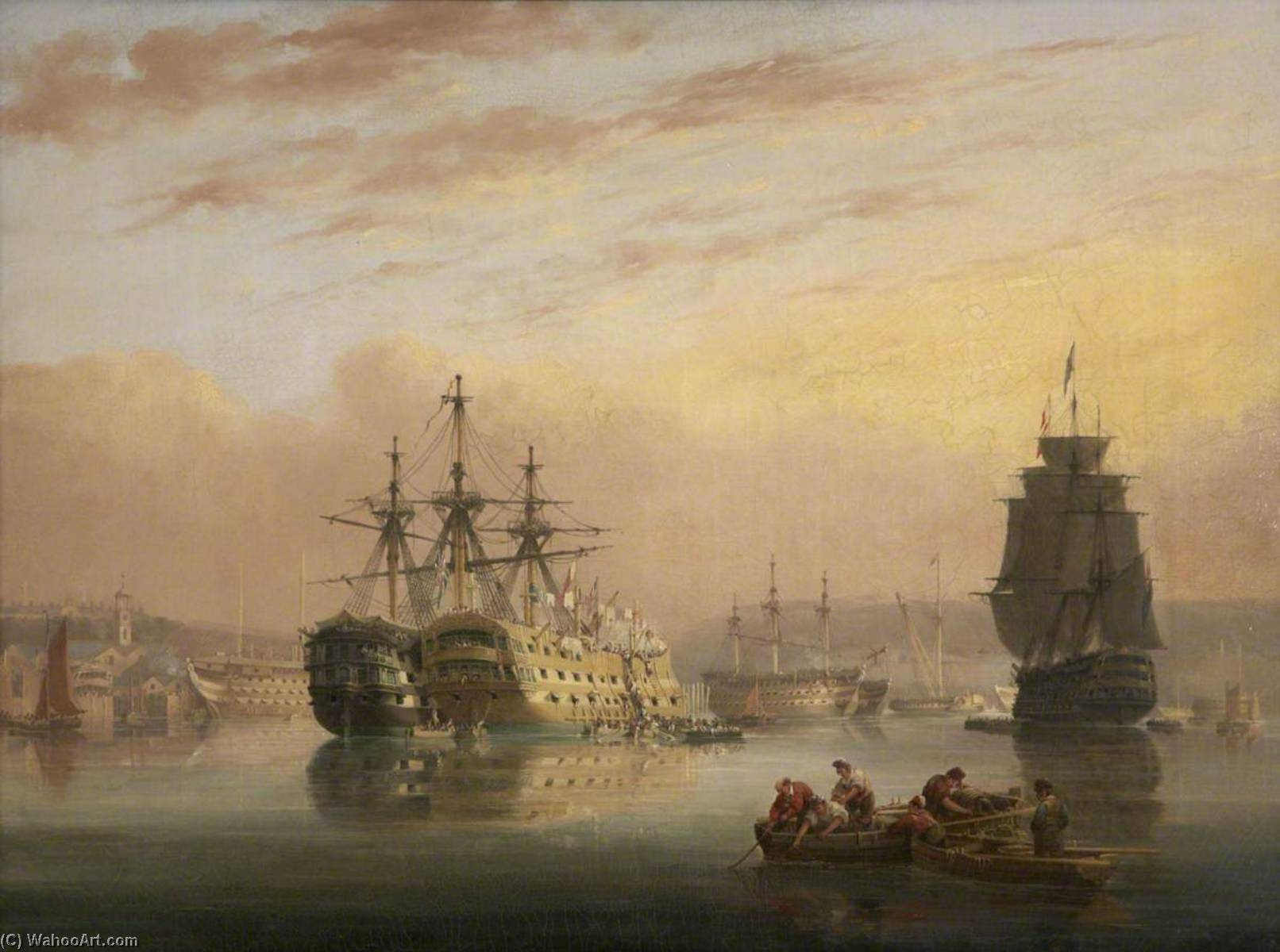 Warships at Devonport ( ) by Nicholas Matthew Condy (1816-1851) | Museum Quality Copies Nicholas Matthew Condy | WahooArt.com
