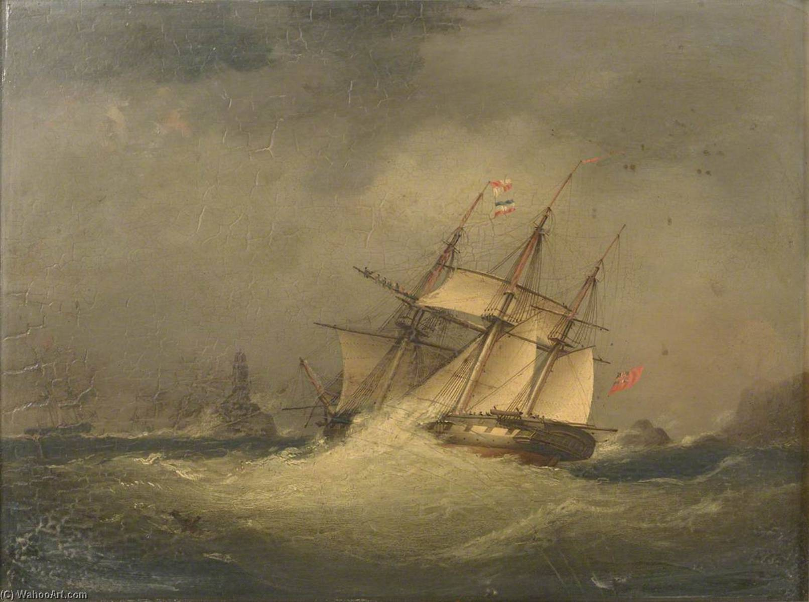 A Frigate off a Rocky Coast by Nicholas Matthew Condy (1816-1851) | Painting Copy | WahooArt.com