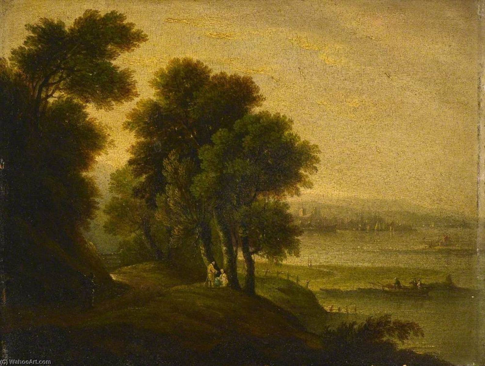 Landscape with a River Estuary by John Wallace Tucker | Museum Quality Reproductions | WahooArt.com