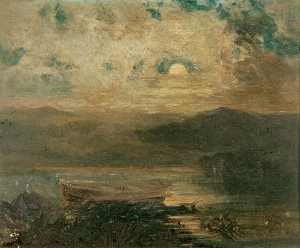 Order Art Reproduction : Moonlight, Near Cemmaes, Anglesea, 1871 by John Wright Oakes | WahooArt.com
