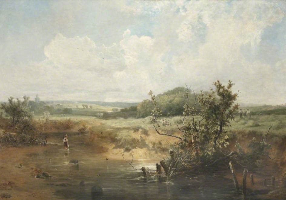 The Tivey at Newcastle Emlyn, Cardiganshire, Oil On Canvas by John Wright Oakes