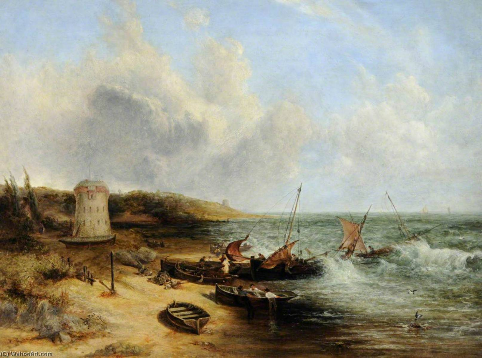 Coast Scene with Fishing Boats and a Martello Tower, Jersey, Oil On Canvas by John Wright Oakes