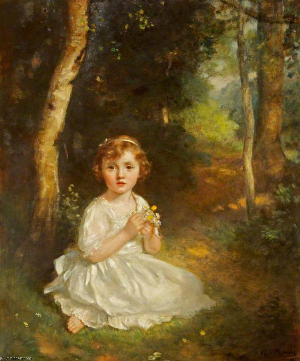 Doreen Albinia de Burgh Gibbs (1913–2008), Aged 4, Later the Honourable Mrs Charles Bathurst Norman, 1917 by William Robert Symonds | Art Reproductions William Robert Symonds | WahooArt.com