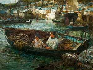 John Robertson Reid - Little Cornish Fishermen, Polperro