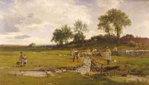 James Aumonier - Sheep Washing in Sussex