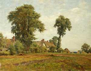 James Aumonier - Pastoral Scene, the Homestead