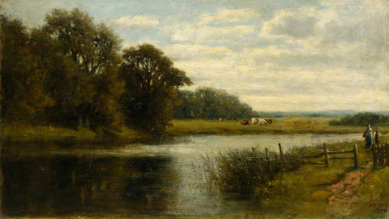 River Scene with Cows, Oil On Canvas by Archibald David Reid