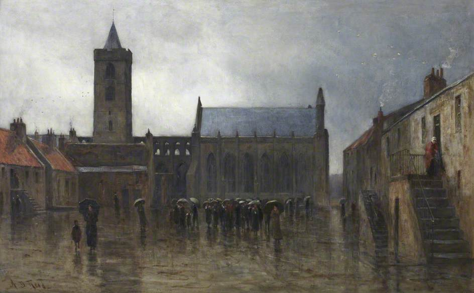 A Wet Morning in Dunblane Cathedral Square, Oil On Canvas by Archibald David Reid