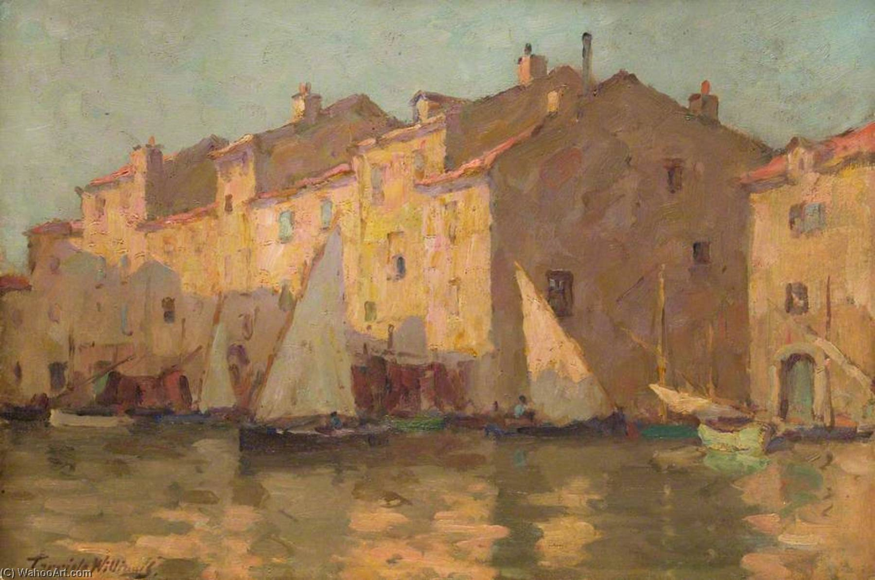 Order Paintings Reproductions | A Canal, Martigues, Provence, France by Terrick John Williams | WahooArt.com