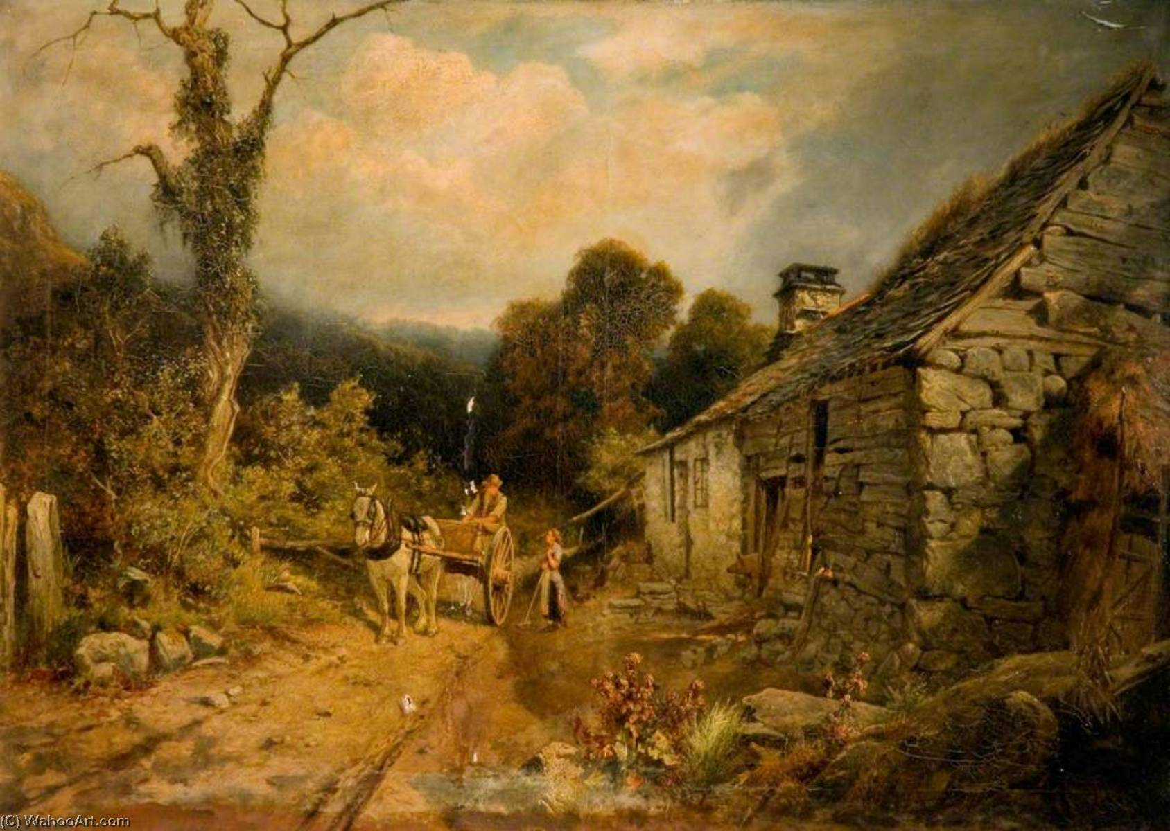 Order Art Reproduction : Chat by the Way, 1878 by Henry Turner Munns | WahooArt.com