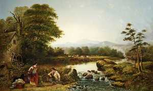 William Widgery - Landscape with Figures by a Waterfall