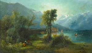 William Widgery - Swiss Lake Scene