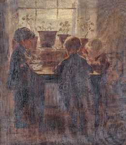 William Darling Mckay - Three Children around a Table