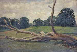 William Darling Mckay - Bare Log in a Field