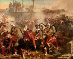 Order Paintings Reproductions | 78th Highlanders at Lucknow, 1857 by Louis William Desanges (1822-1887, United Kingdom) | WahooArt.com