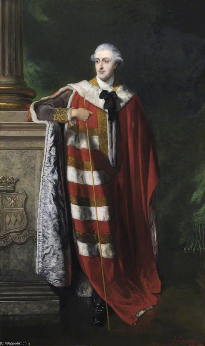 George (1737–1788), 4th Duke of Manchester, 1885 by Louis William Desanges (1822-1887, United Kingdom) | Museum Quality Reproductions | WahooArt.com