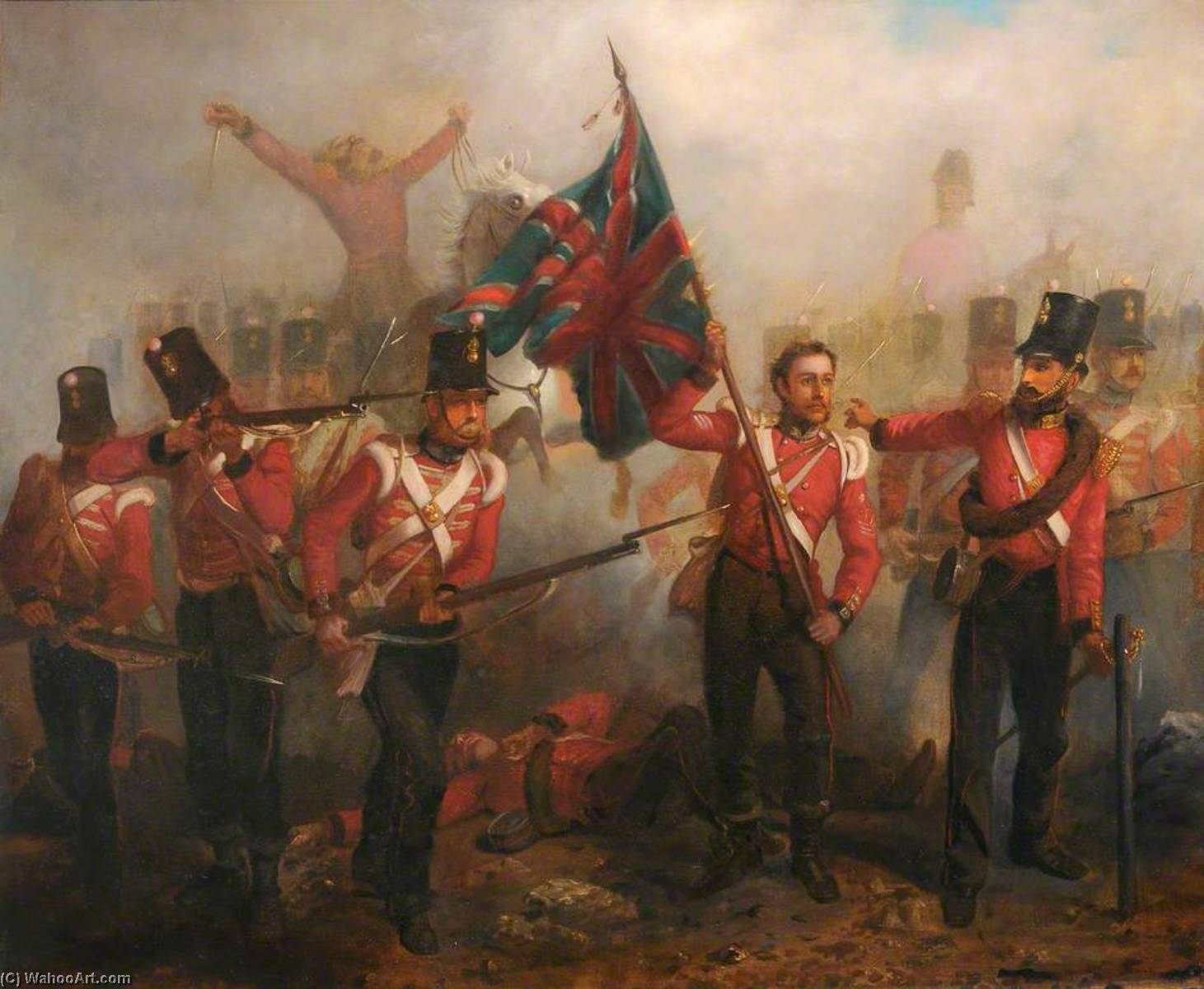 Sergeant Luke O`Connor Winning His VC at the Battle of the Alma, 20th September 1854 by Louis William Desanges (1822-1887, United Kingdom) | Museum Quality Reproductions | WahooArt.com