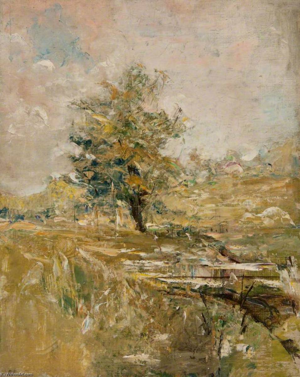 Country in Summer, Single Tree by John Elliot Maguire | Painting Copy | WahooArt.com