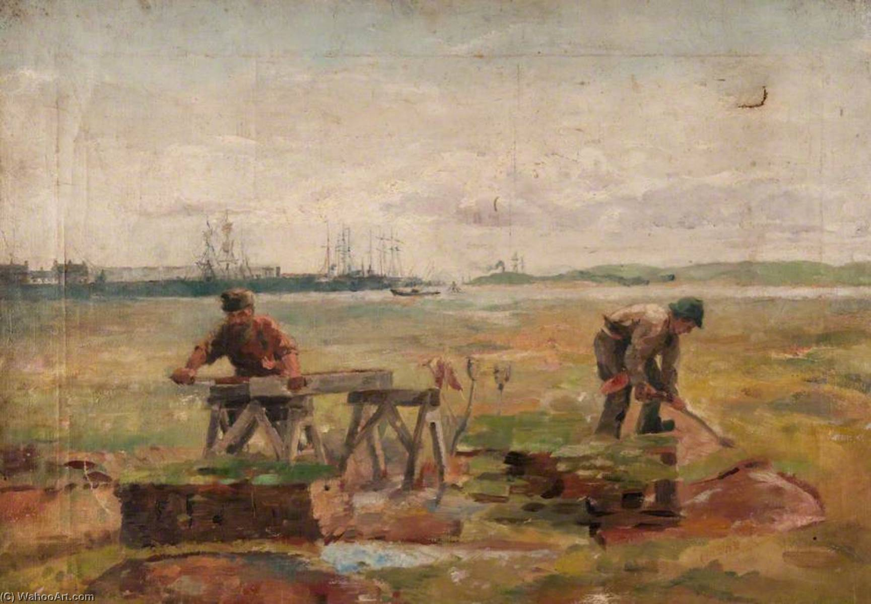 Two Workmen with a Background of Sailing Ships, Oil On Canvas by John Elliot Maguire