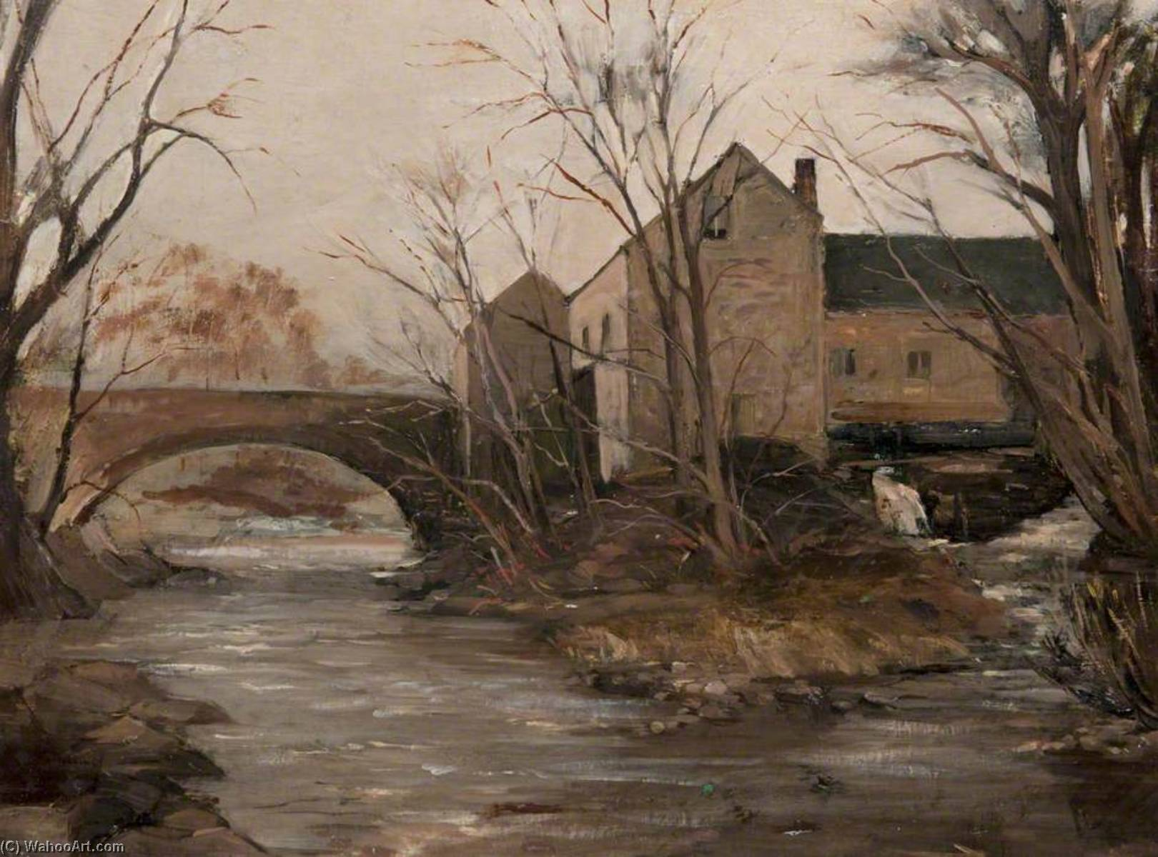 Waterfoot Mill and Bridge by John Elliot Maguire | Art Reproduction | WahooArt.com