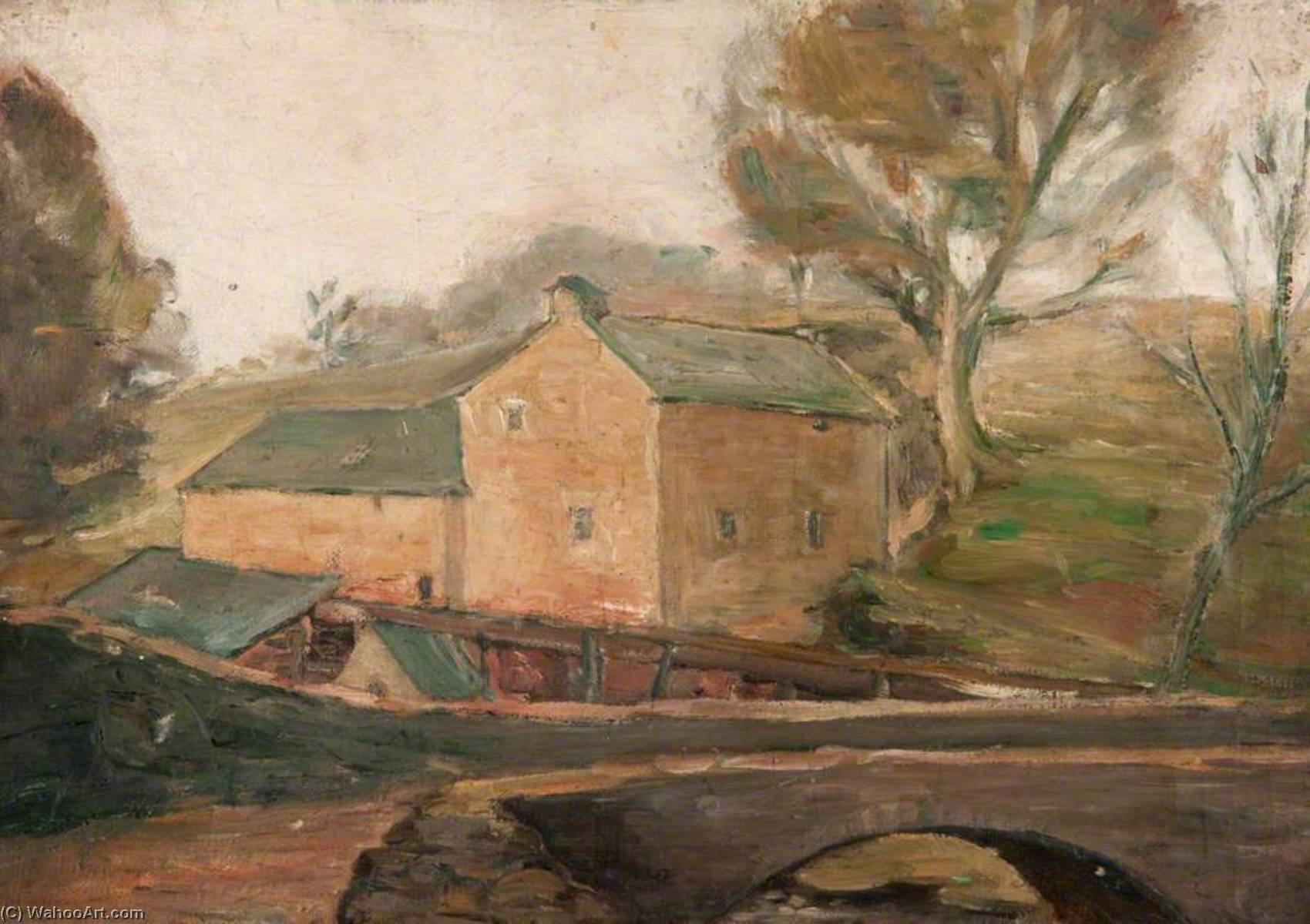 Craigmill and the Packhorse Bridge by John Elliot Maguire | Oil Painting | WahooArt.com