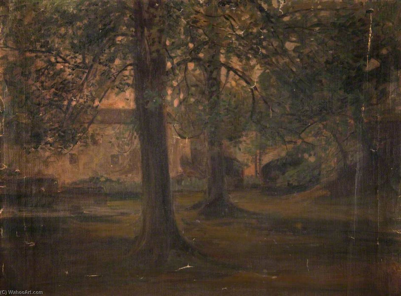 Mill behind Trees, Oil On Canvas by John Elliot Maguire