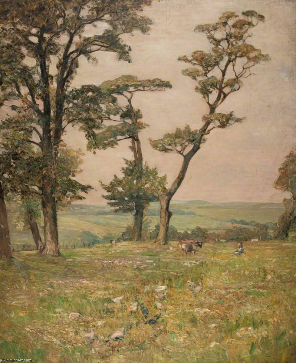 Countryside with Two Cows and a Figure, Oil On Canvas by John Elliot Maguire