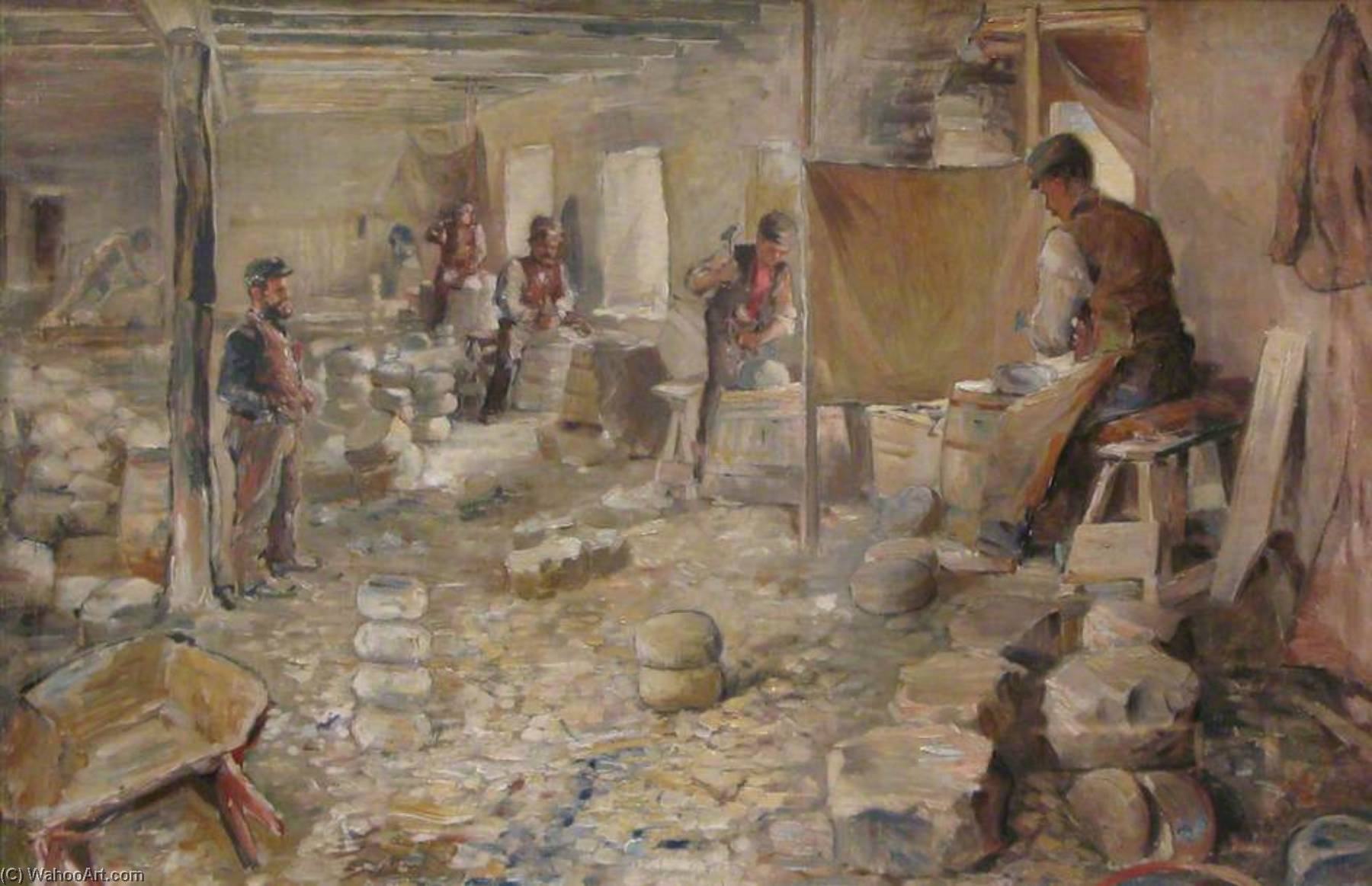 Curling Stone Workshop, Oil On Canvas by John Elliot Maguire