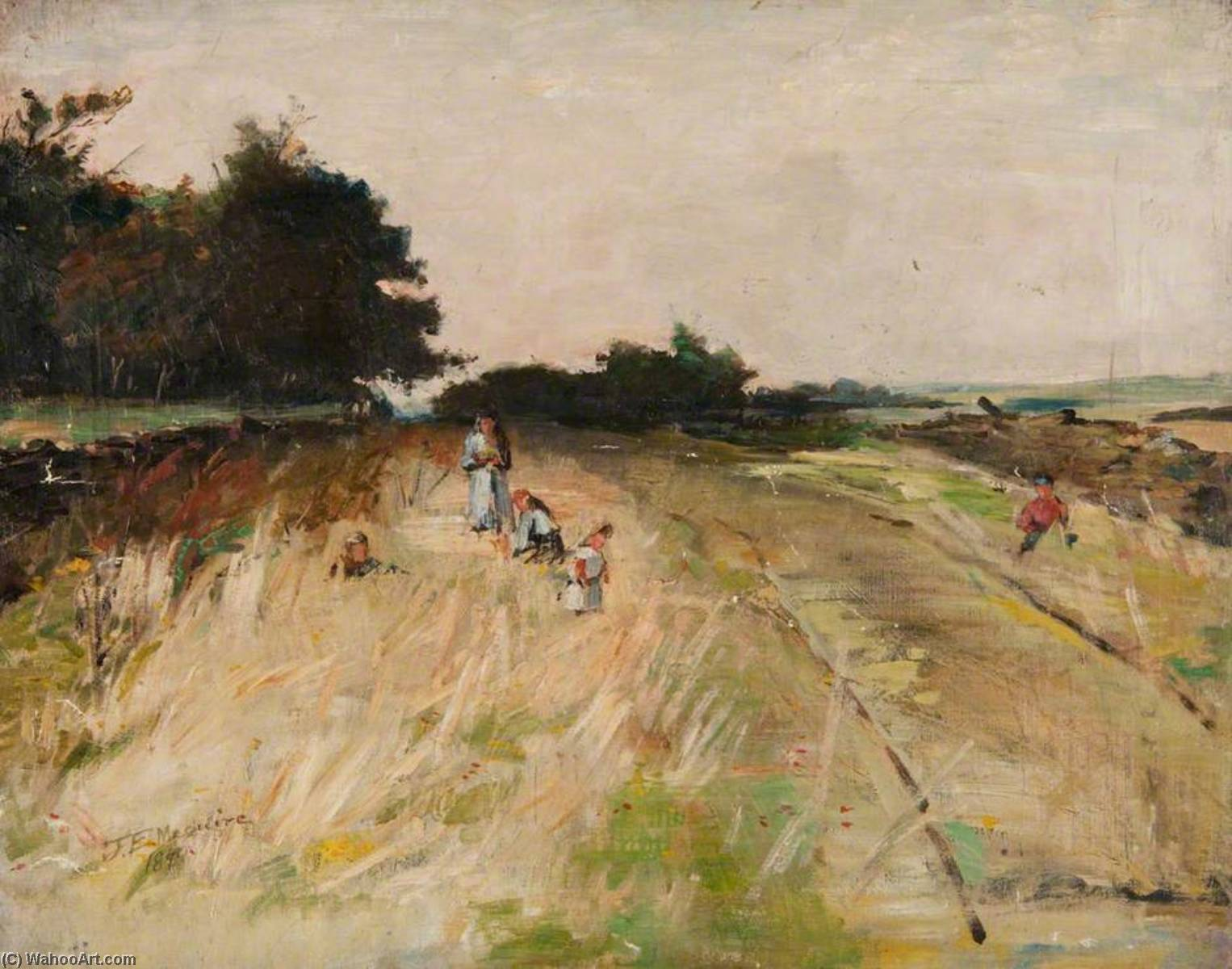 Countryside with Figure Studies, Oil On Canvas by John Elliot Maguire
