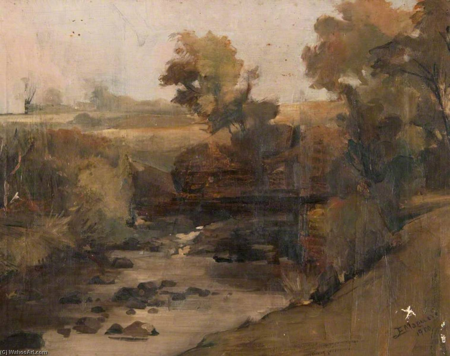 Countryside with a Stream, Oil On Canvas by John Elliot Maguire