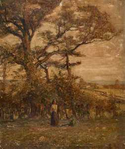 John Elliot Maguire - Two Figures in a Field with Trees
