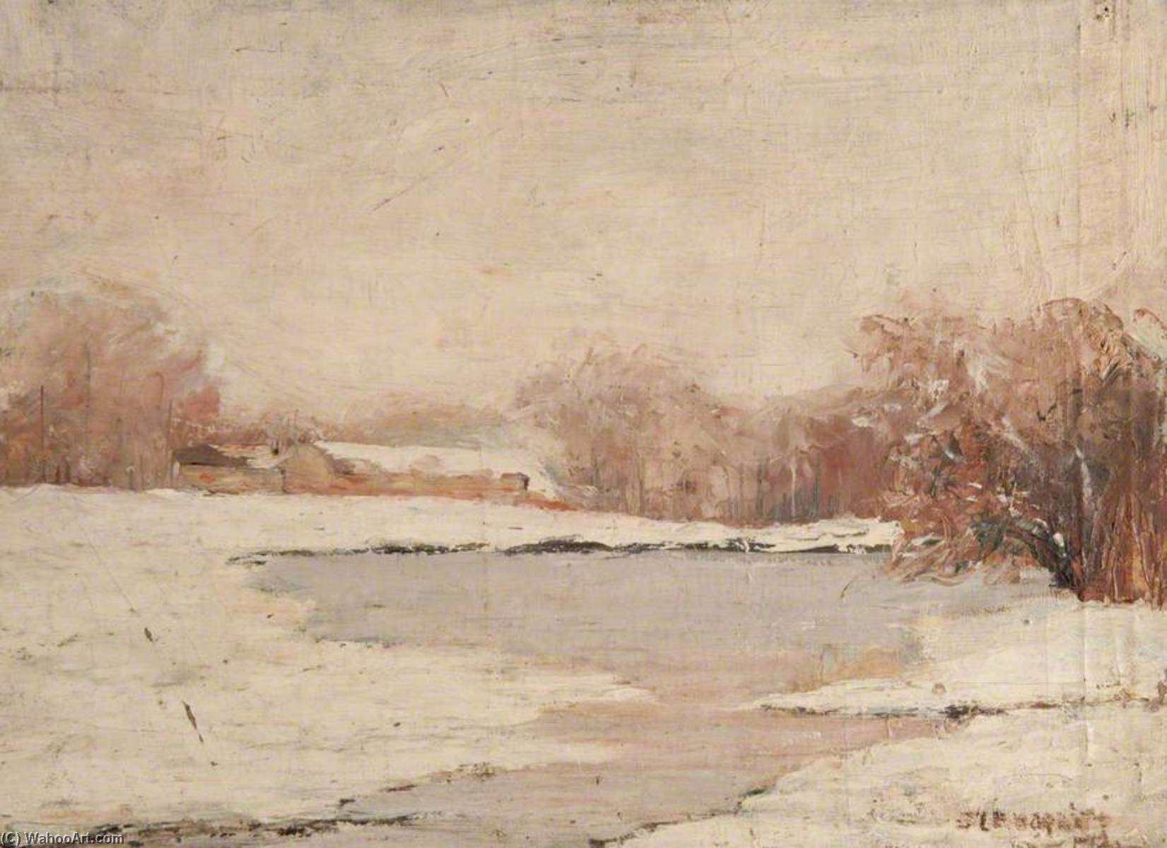 Country Loch in Winter, Oil On Canvas by John Elliot Maguire