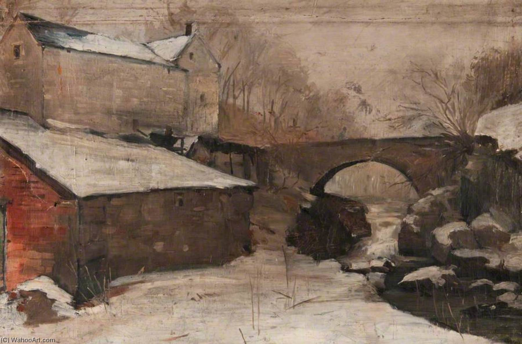 Winter Scene with a Bridge and a Mill (Craigmill), Oil On Canvas by John Elliot Maguire