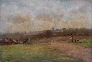 Robert Finlay Mcintyre - Looking towards Hampstead from Parliament Hill Fields