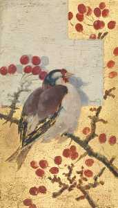 Beatrix Whistler - A Goldfinch on the Branch of a Cherry Tree