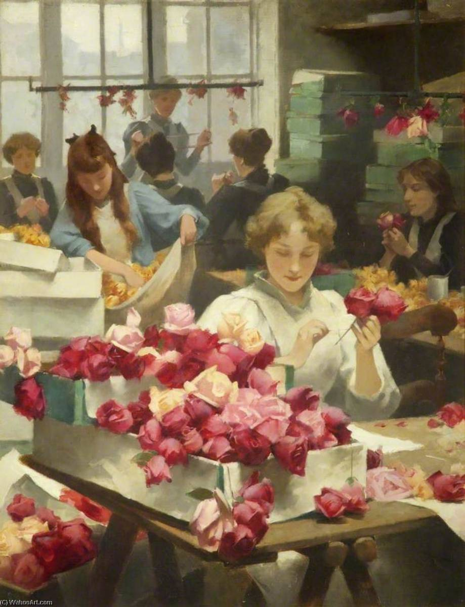 Flower Makers, Oil On Canvas by Samuel Melton Fisher