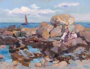 William Henry Charlton - Rockpool and a Boat