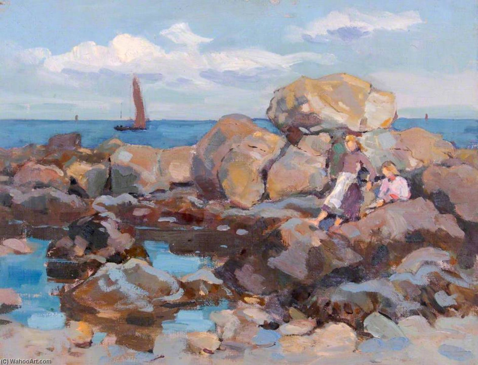 Rockpool and a Boat, Oil On Canvas by William Henry Charlton
