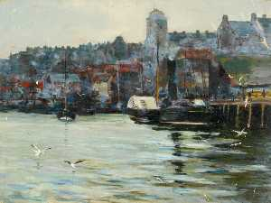 William Henry Charlton - Harbour with Seagulls