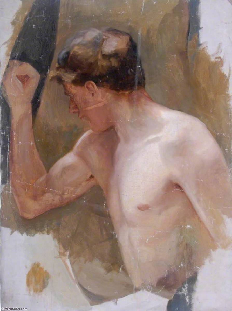 Male Nude, Oil On Canvas by William Henry Charlton