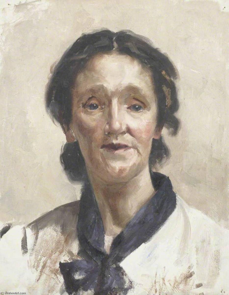 Portrait of a Young Woman Wearing a White Shirt with a Blue Scarf, 1905 by Beryl Fowler | Art Reproductions Beryl Fowler | WahooArt.com
