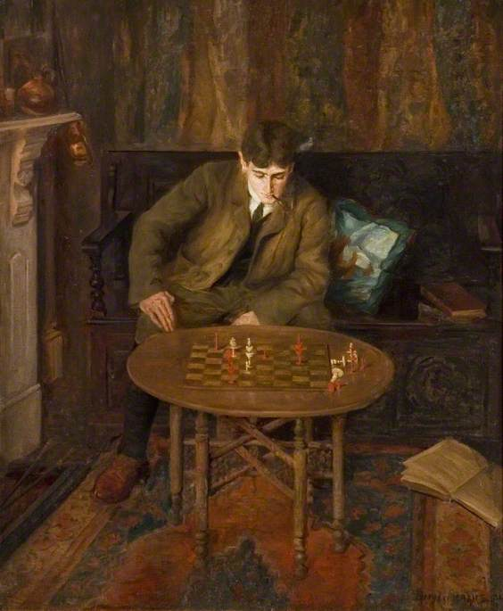 A Young Man Sitting on a Settle Leaning over a Chess Table, Oil On Canvas by Beryl Fowler