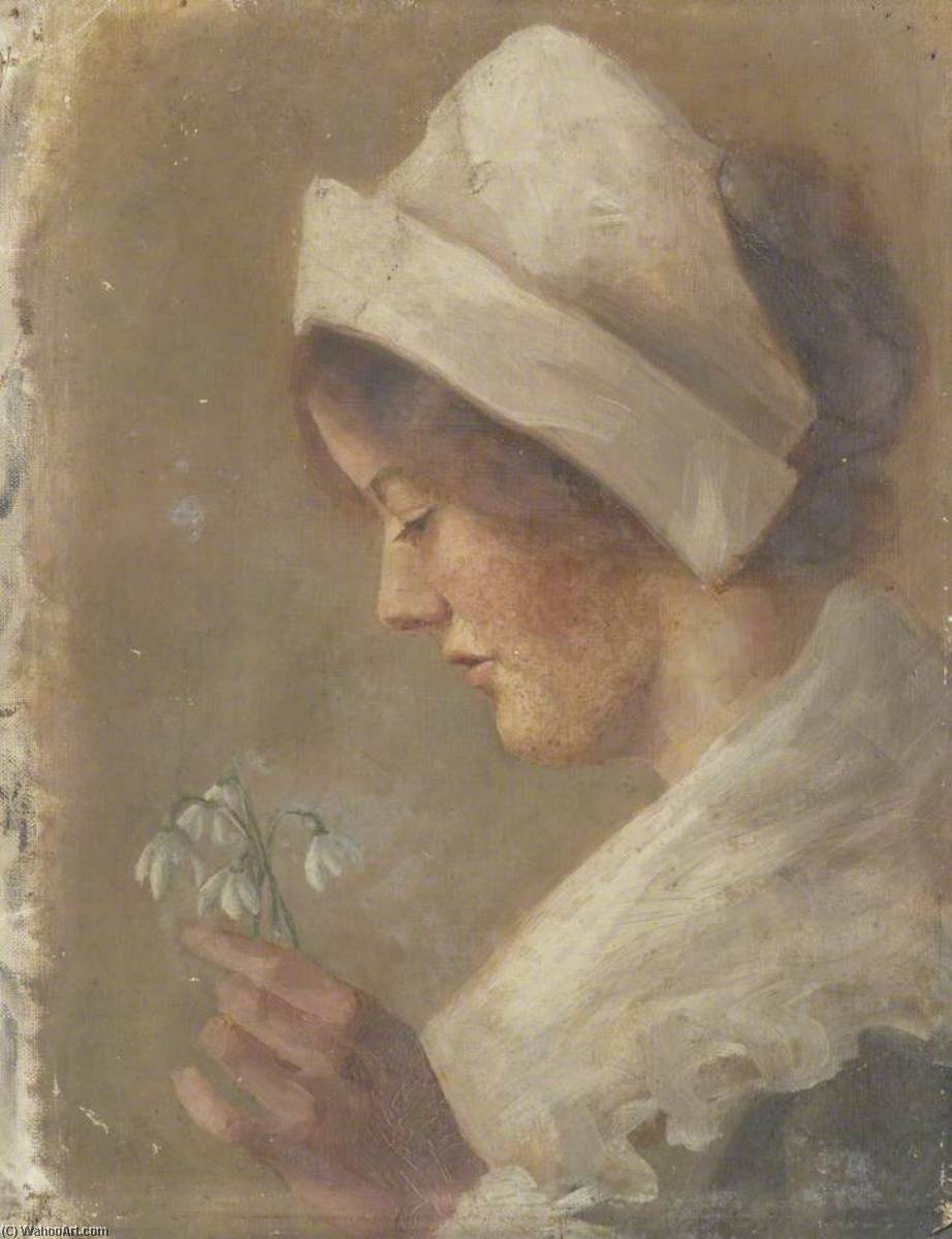Portrait of a Woman Holding Snowdrops, Oil On Canvas by Beryl Fowler