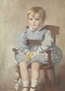 Beryl Fowler - Portrait of a Child Seated on a Wooden Chair