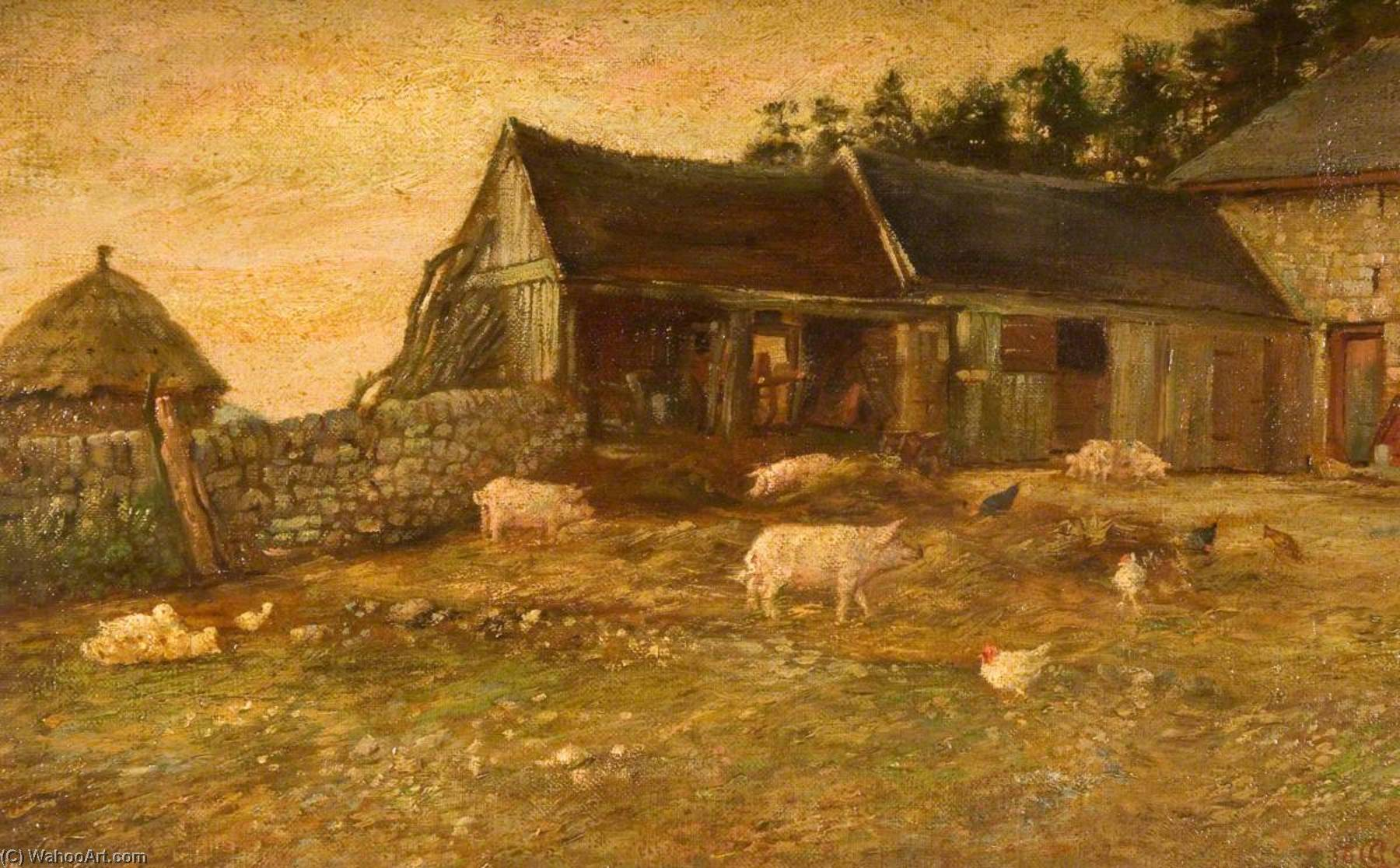 Farmyard Evening, Hale House, Horton, Oil On Panel by George Cartlidge