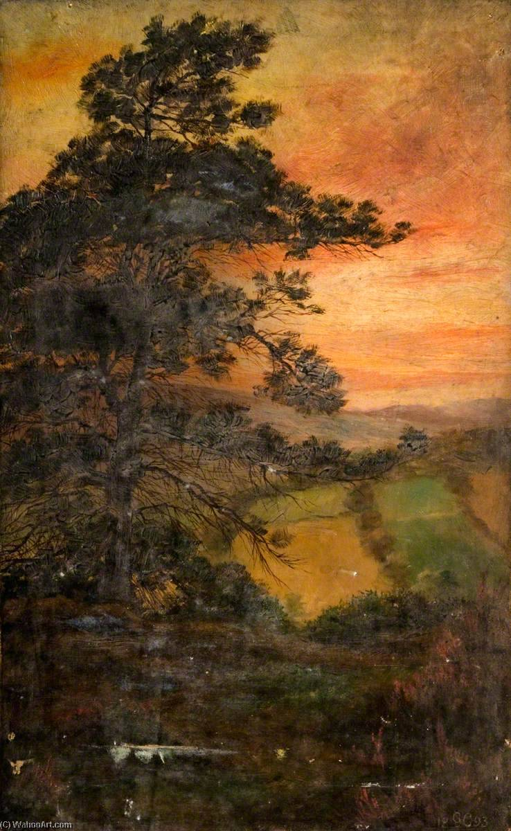 Landscape with a Tree at Sunset, 1893 by George Cartlidge | Museum Quality Reproductions | WahooArt.com