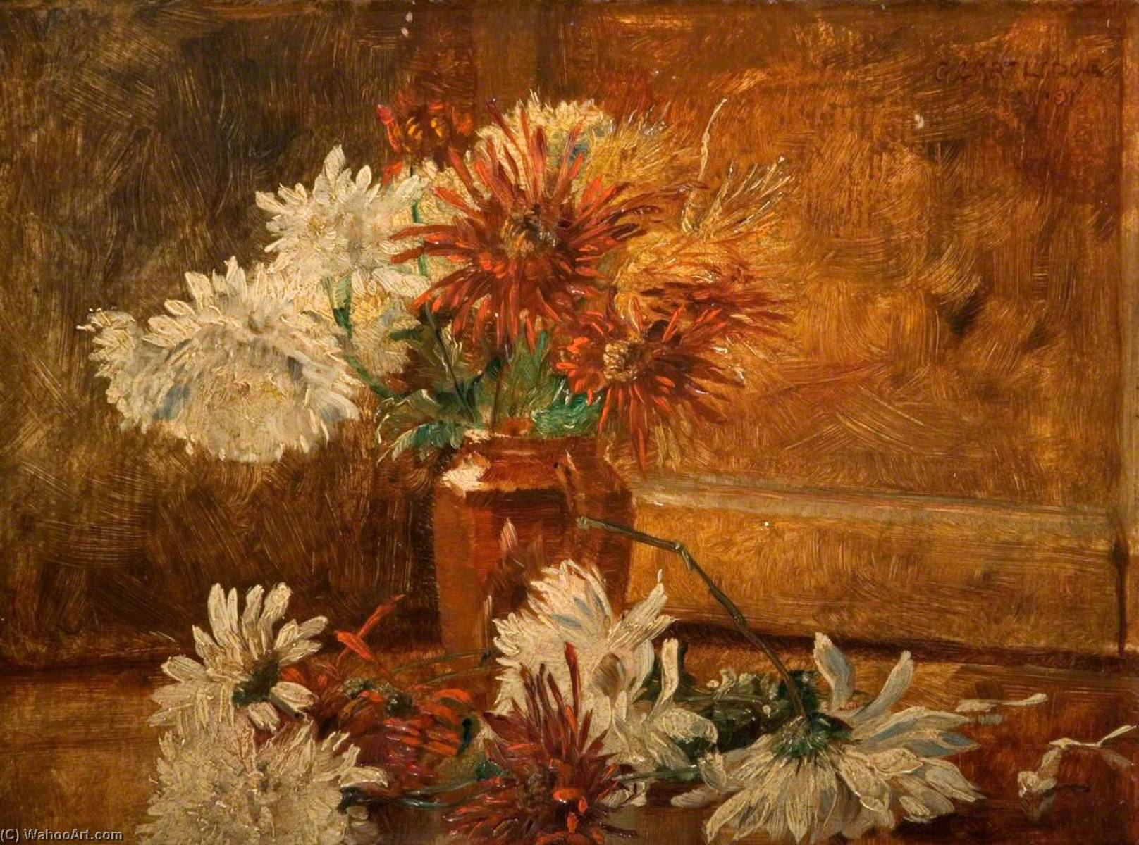 Still Life, Chrysanthemums, Oil On Panel by George Cartlidge
