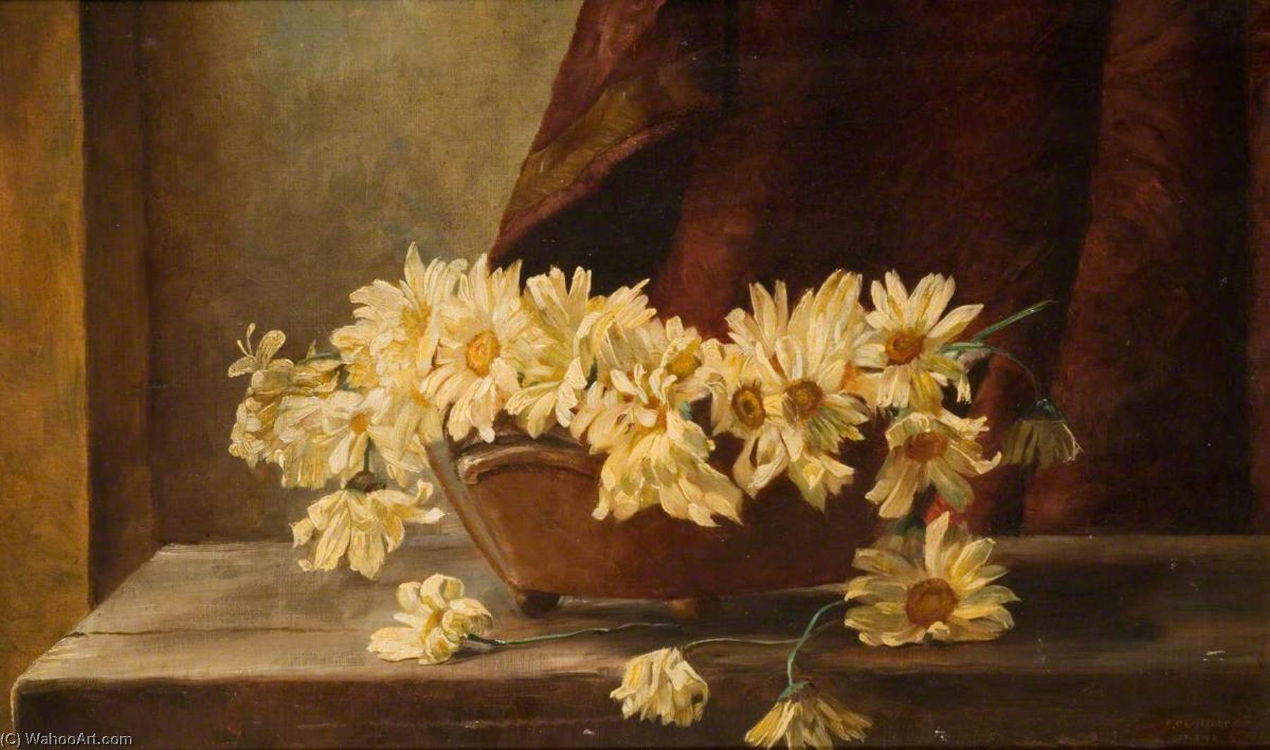 Marguerites, Oil On Canvas by George Cartlidge